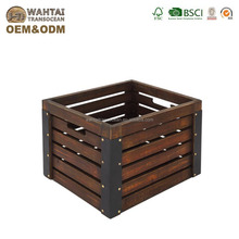 Wahtai Original Size Wooden Gift Package Crate With Cut Out Handle