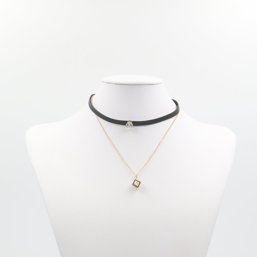 Cool Girl Black PU Necklace With Diamond And Plated Gold Diamond Square Chain Choker