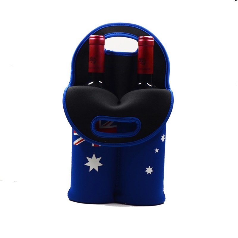 Insulated Neoprene 2 pack Wine Bottle Carrier Cooler Tote Bag