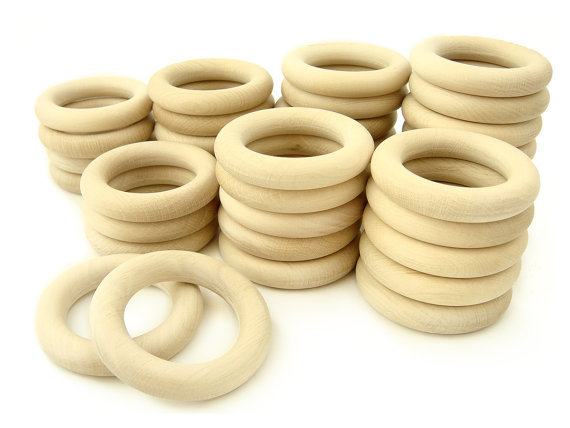 1500pcs Wooden Rings 40mm Unfinished Natural Wooden Teething Rings round Natural Wood Beads circles for DIY DHL free shipping