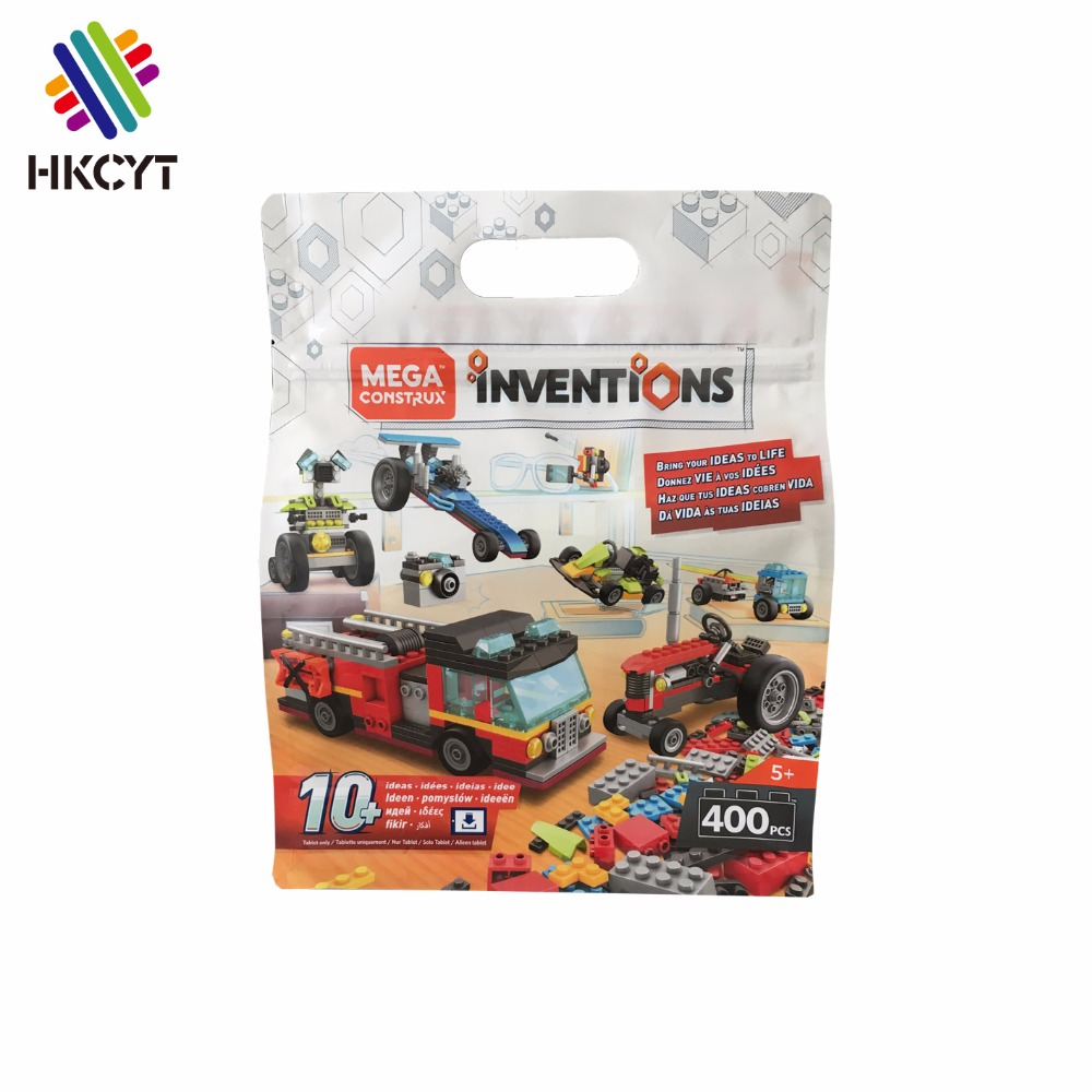 Custom Design Printed Stand Up Flat Bottom Top Ziplock Packaging Bag For Toy Bricks WIth Hanger