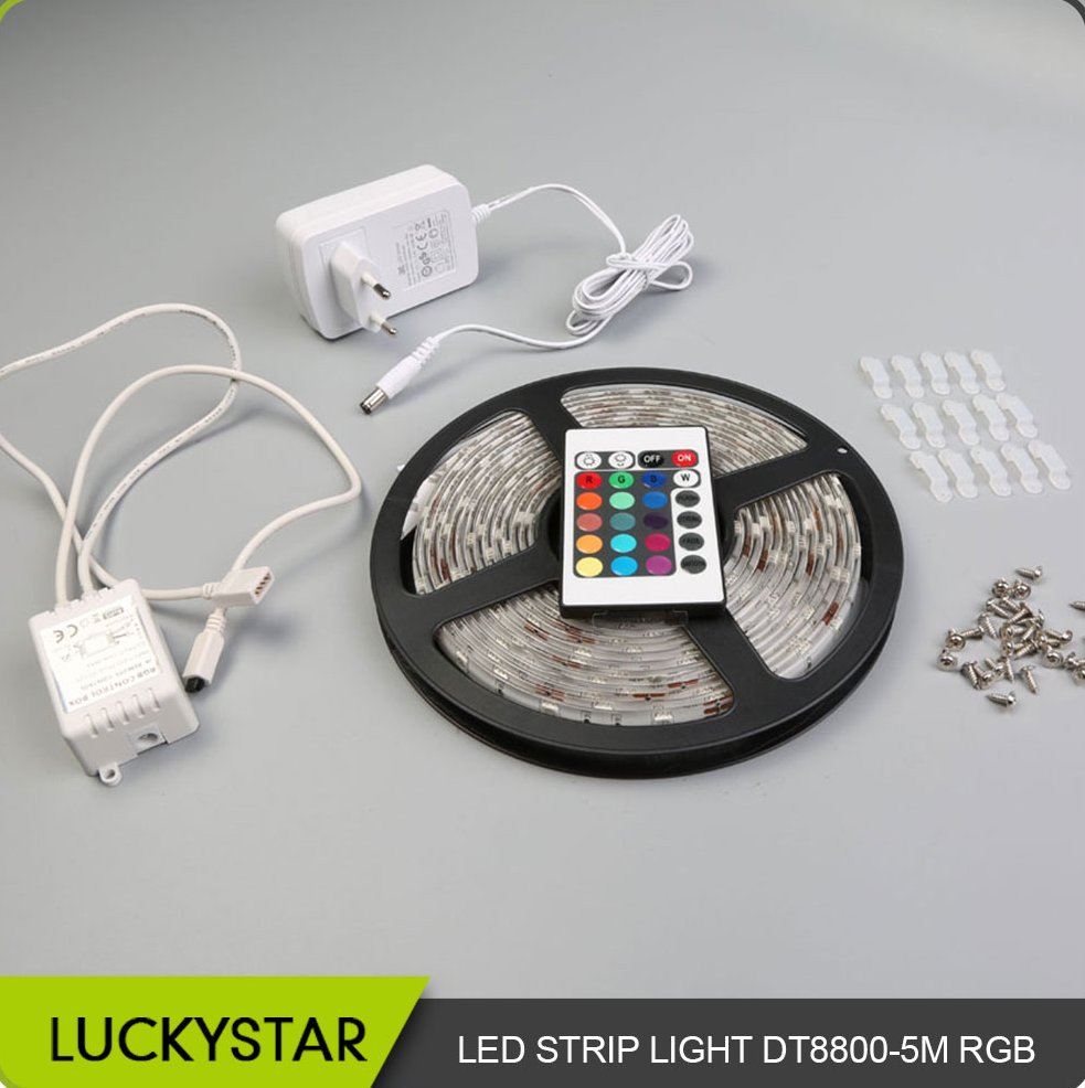 LuckyStar LS-DT8800-5MRGB Lighting 5050 SMD RGB flexible strip light kit waterproof flex RGB LED strip