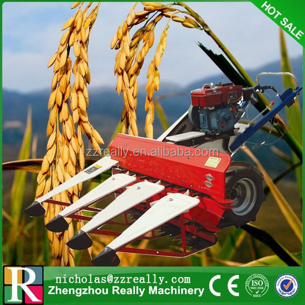 Self propelling walk behind rice paddy,wheat and corn harvester with tractor