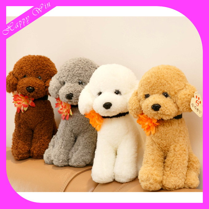 30cm professional customized promotional stuffed plush sitting tactic dog/teddy dog toy with flower