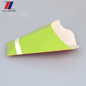 High quality cone shape french fries packaging box with cone shaped packaging customized printing fast food paper cone