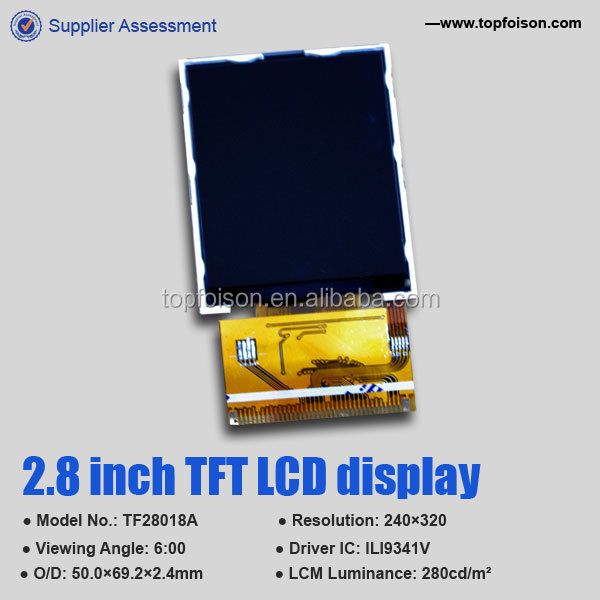 2014 hot sale 2.8'' 240*320 tft lcd display 6 o'clock 16 bit 8080I/F ILI9341 37 pin for door control system