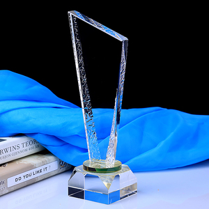 Full transparent customized blank 3D crystal glass award trophy glass plaque for free engraving
