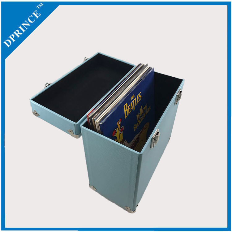 Customizable portable blue suitcase vinyl record case storage box