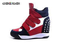 2015 wholesale studded suede popular leather high hidden wedge sneaker