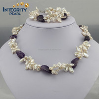 7mm keshi pearls & amethyst beads freshwater pearl set