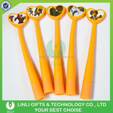 Lovely Designed Light Orange Soft Plastic Ballpoint Pen, Ball Pen for Promotion