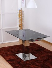high quality square tempered glass, pedestal dining table
