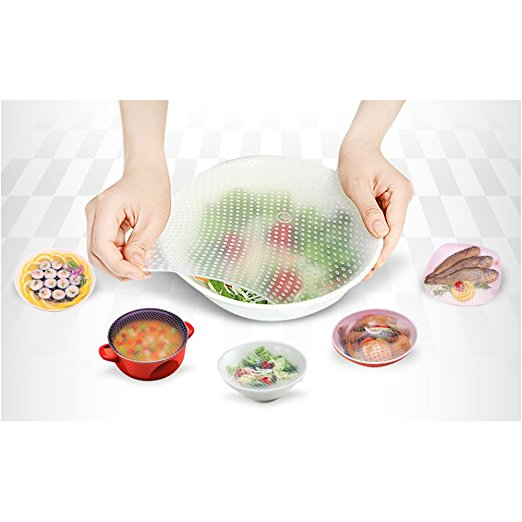 Stretch Silicone Cover, Sticky Reusable Silicone Food Wrap for Bowl/Plate