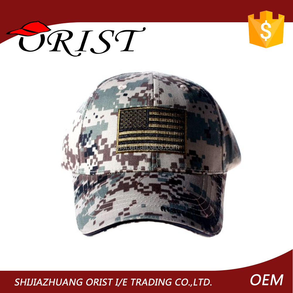 Custom military cap wholesale printed camo camouflage baseball cap military cap from Orist