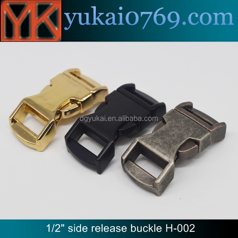 Yukai custom bag belt metal buckle curved metal side release buckle wholesale