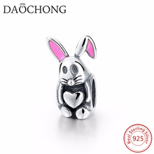 Online Hot Sale Cheap Cute Heart Shape Sterling Silver Rabbit Charm