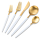 24 Piece Royal Stainless Steel Two Tone Steak Cutlery Set White and Matte Gold Silverware
