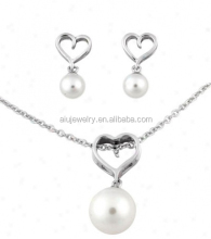 925 sterling silver small pearl jewelry necklace set