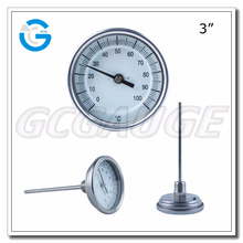 "High Quality stainless steel back connection 3"" bi metal dial thermometer"