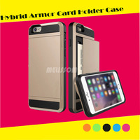Top Quality Armor Protective Phone Case for iPhone 6,For iPhone 6 Case Armor Hybrid with card slot holder