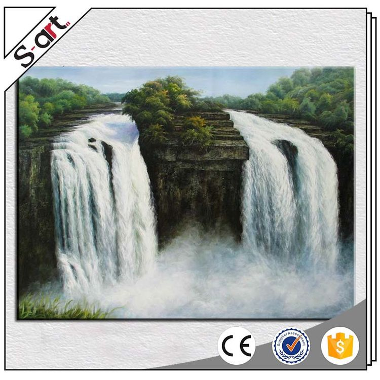Well-known original design waterfall framed landscape oil painting