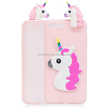 High Quality Fashion Cute 3D Cartoon with Dust Plug Silicone Rubber Case for Apple iphone phone 6/7/8 plus