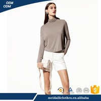 2017China Manufacturer Meidaili Latest Casual Style High Quality Long Sleeve Silk Women T-Shirt