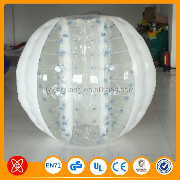 Outdoor giant human inflatable glass bubble ball soccer, bubble ball suit
