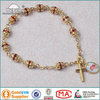 Christian red rhinestone beads gold saint medal rosary bracelet