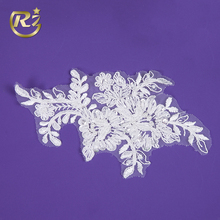 LH-405R1 Sequin And Pearl Fabric Clothing Hand Embroidery Design Custom Motif Patch Lace Applique