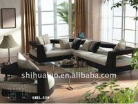 black and white leather sofa SHL-339