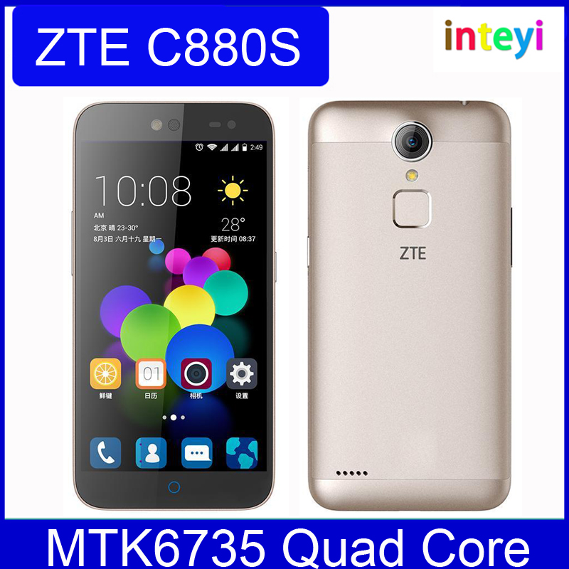 "Original ZTE C880S Metal Body Android 5.1 Mobile Phone MTK6735 Quad Core Dual SIM FDD LTE 5.0""HD 2G RAM 8G ROM 13MP FingerPrint"