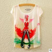 Newest China factory digital print lady summer woman short sleeve fashion girl's t shirts