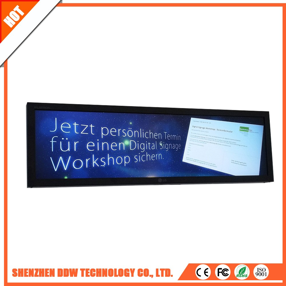 Odm fashionable design Dual channel LVDS wall mount Stretched cheap indoor touch digital advertising display screens