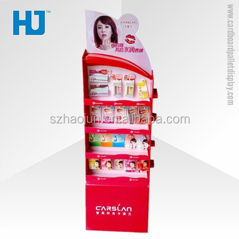 Paper peg board counter top display for lipsticks, free standing make up cardboard hooks display