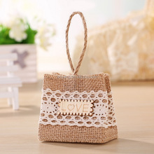 Wholesale Love and Crochet Flower Decor Burlap Tote Bags for Wedding (BF-0051)