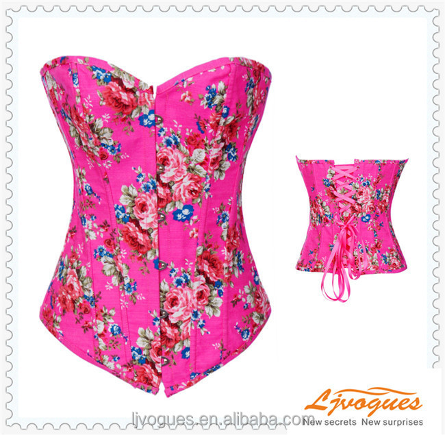 Bright Colored Floral Print Overbust Coset +Panties