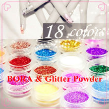 18 Colors Fine Glitter Powder Dust Set for Nail Art Decoration
