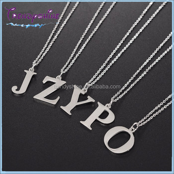 Wholesale blank silver stainless steel letter k pendant necklace