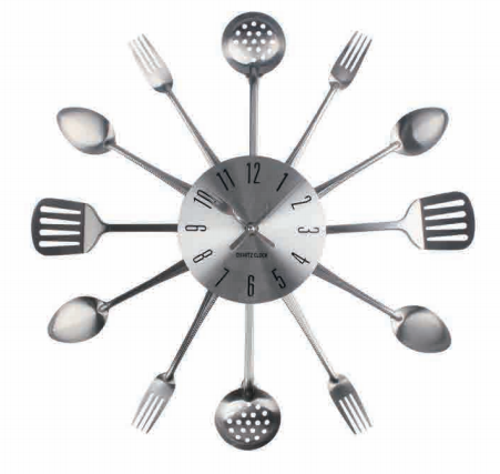 New Modern Design Cutlery Metal Kitchen Utensil Wall Clock, Spoon Fork Clock