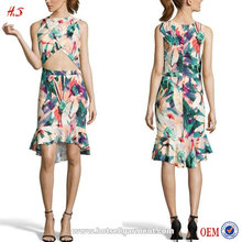 Alibaba Hotsell Australia Floral Print Strech Crepe Exposed Midi Woman Dress