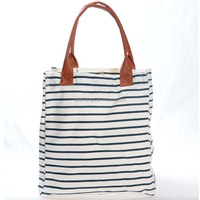 Navy Strap Style Cotton Canvas Tote Shopping Bag with Leather Handle