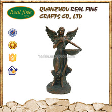Bronze Effect Resin Girl Angel Statues for Decoration