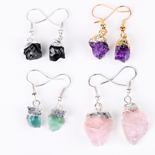 Yase 2019 natural amethyst earrings 4 colors natural stone jewelry women gemstone quartz earrings