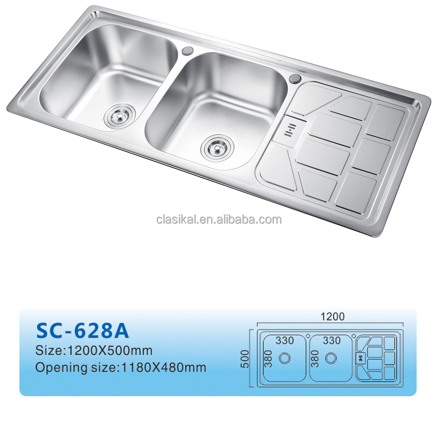 628A Top mounted double bowl stainless steel malaysia kitchen sink
