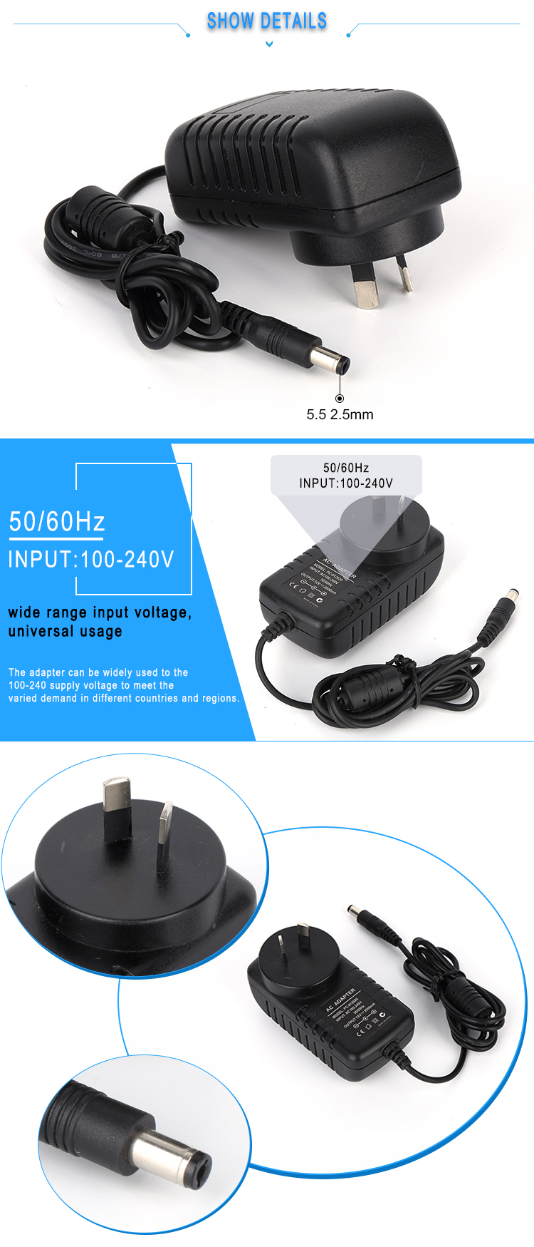 24w ac dc adapter 12v 2a led power supply with CE FCC RoHS approved