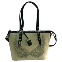 Cotton handbag with printing logo newest pictures lady fashion handbag,shoulder bag for women handbag factories in china