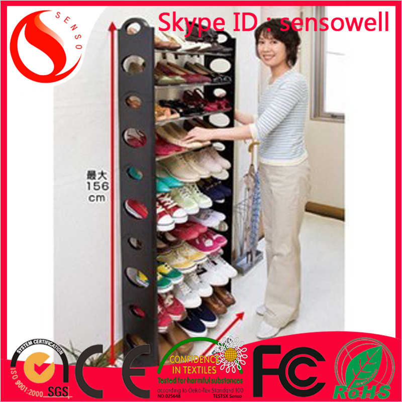 Shoe Rack 10 layer DIY folding cheap ikea plastic and iron pipe stacking shoe rack