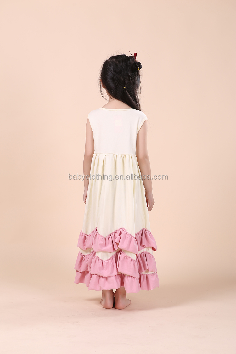 Howell latest sleeveless 95% cotton ruffle girl long maxi dress
