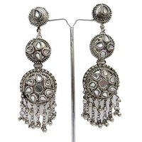 Tribal Ethnic Boho Earrings Silver Tone Asian Jewelry
